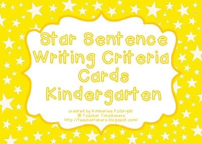 Teacher Time Savers: Star Sentences - Writing Criteria Cards (free)Iteach 5Th, Cards Free, Stars Sentence, Information Writing, Writing Center, Criteria Cards, Informational Writing, Kindergarten Writing, Kindergarten Freebies