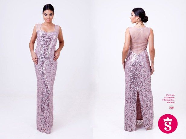 308 - Vestido Longo Paetê Rosa Claro