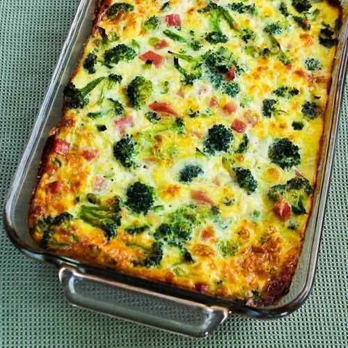 Broccoli, Ham, Green Onion, and Mozzarella baked with eggs- healthy breakfast