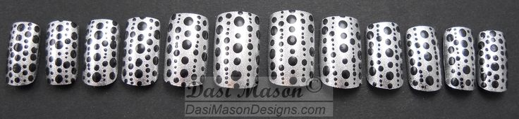 Silver with Black Dots Instant Acrylic Nail Set