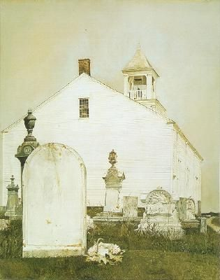 Old church and older patrons...  Andrew Wyeth:
