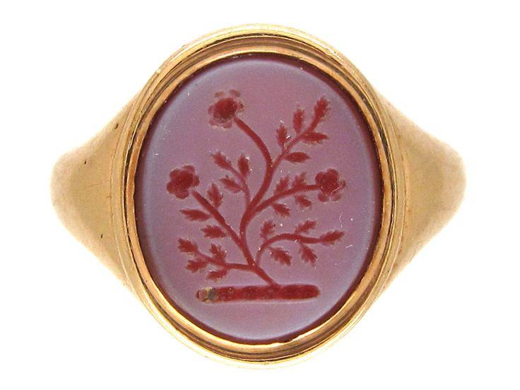 18ct Gold Carnelian Intaglio Signet Ring - The Antique Jewellery Company
