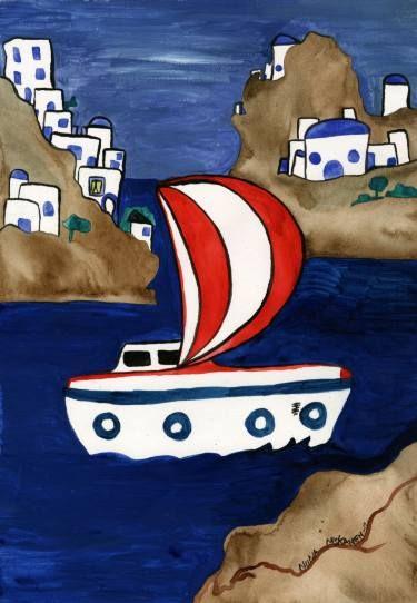 """Saatchi Art Artist Niina Niskanen; Painting, """"Journey to Greece"""" #art"""