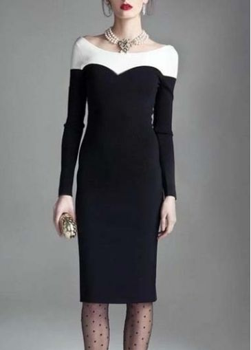 Chic Color Block Long Sleeve Knee Length Dress  martofchina.com