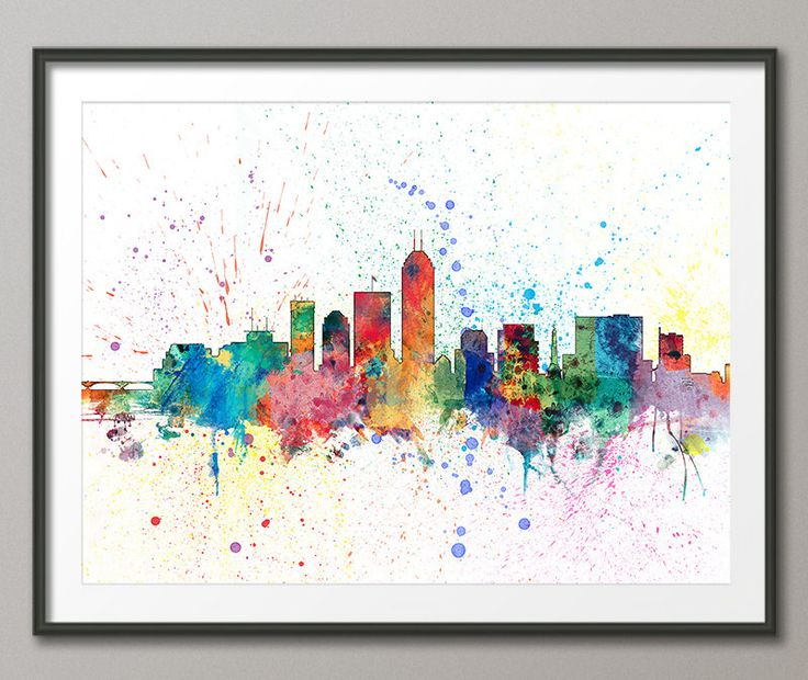 Indianapolis Skyline, Indianapolis Indiana Cityscape Art Print (2008) by artPause on Etsy