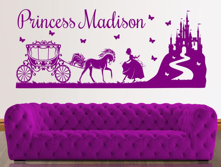 princess castle carriage | girls wall stickers