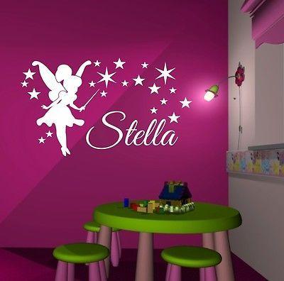 Cute Wandaufkleber Wandtattoo Kinderzimmer M DCHEN FEE ELFE Sterne Name