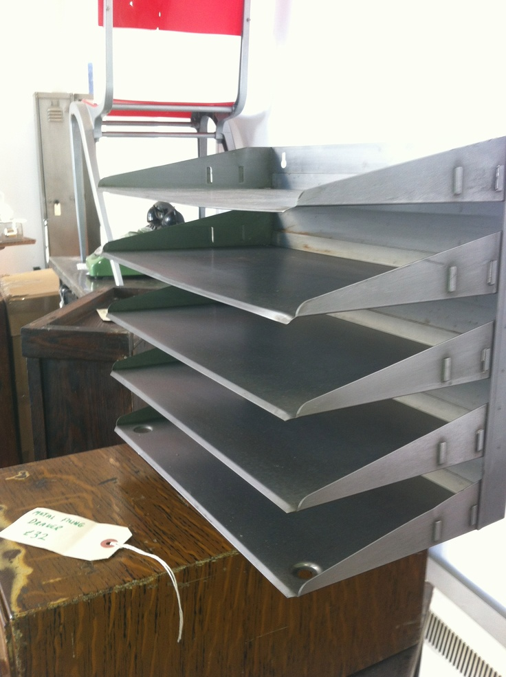 Get the look right in that office vintage stripped polished sorting shelf £40