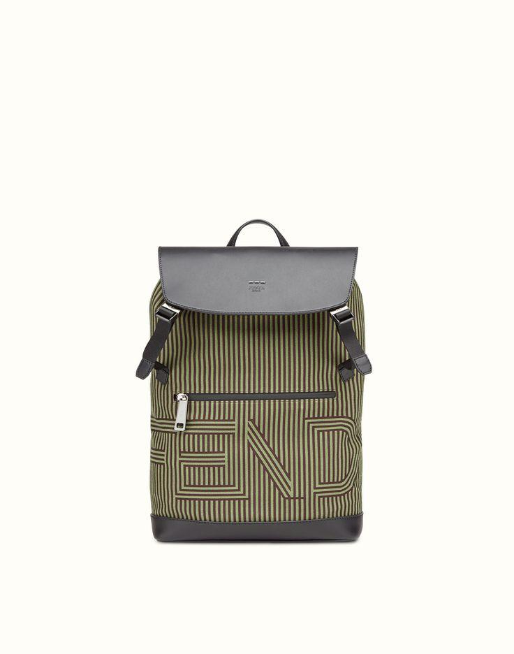 FENDI BACKPACK - Optical nylon and leather backpack