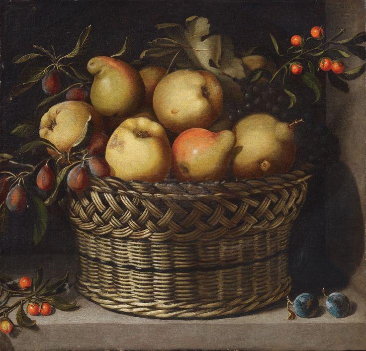 Juan van der Hamen y Gómez de León (1596- 1631) — Apple, Quince, Plums and Cherries in a Basket (1300×1248)