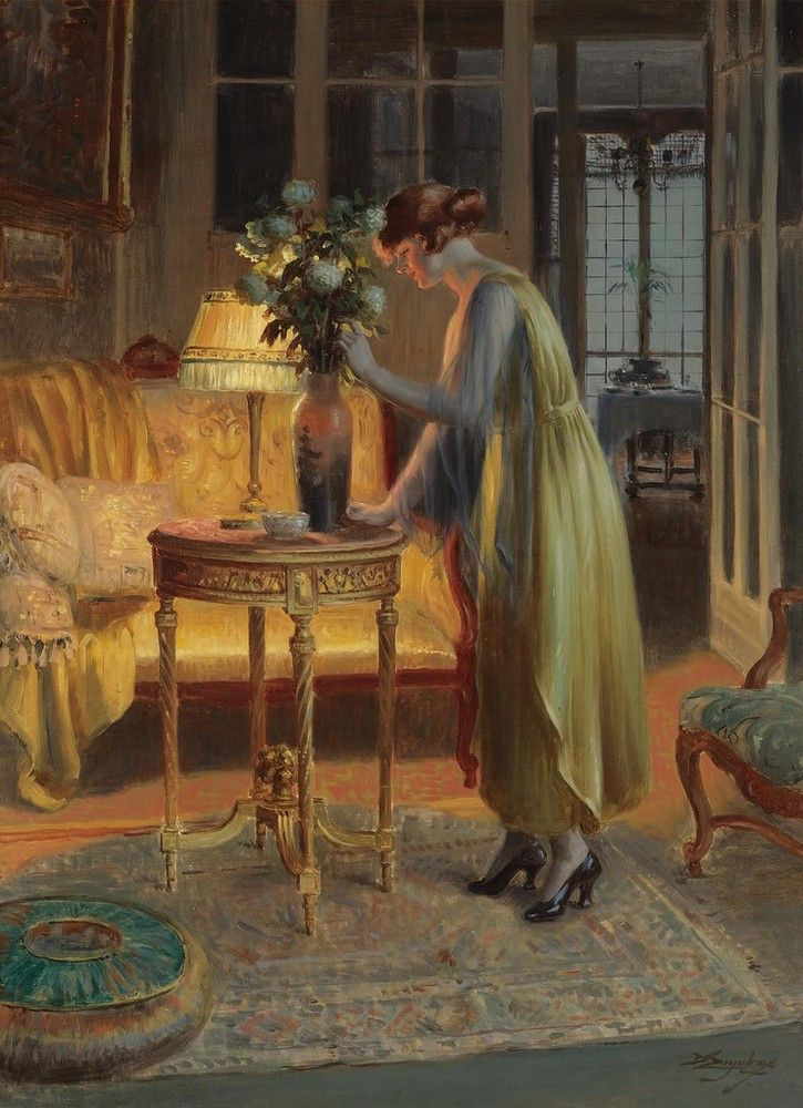 Delphin Enjolras (1857-1945)  —Arranging Flowers  (725x1000):