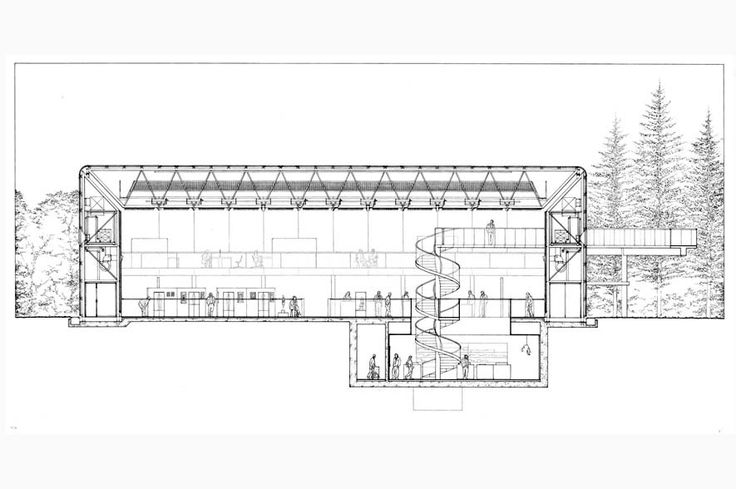Sainsbury Centre for Visual Arts in Norwich by Foster + Partners /// Structural and service elements are contained within the double-layer walls and roof thus creating a wide span highly flexible indoor space.