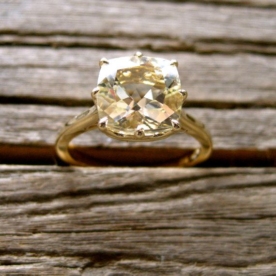 This lemon quartz and 14k yellow gold ring is a gorgeous, unique alternative to a diamond engagement ring