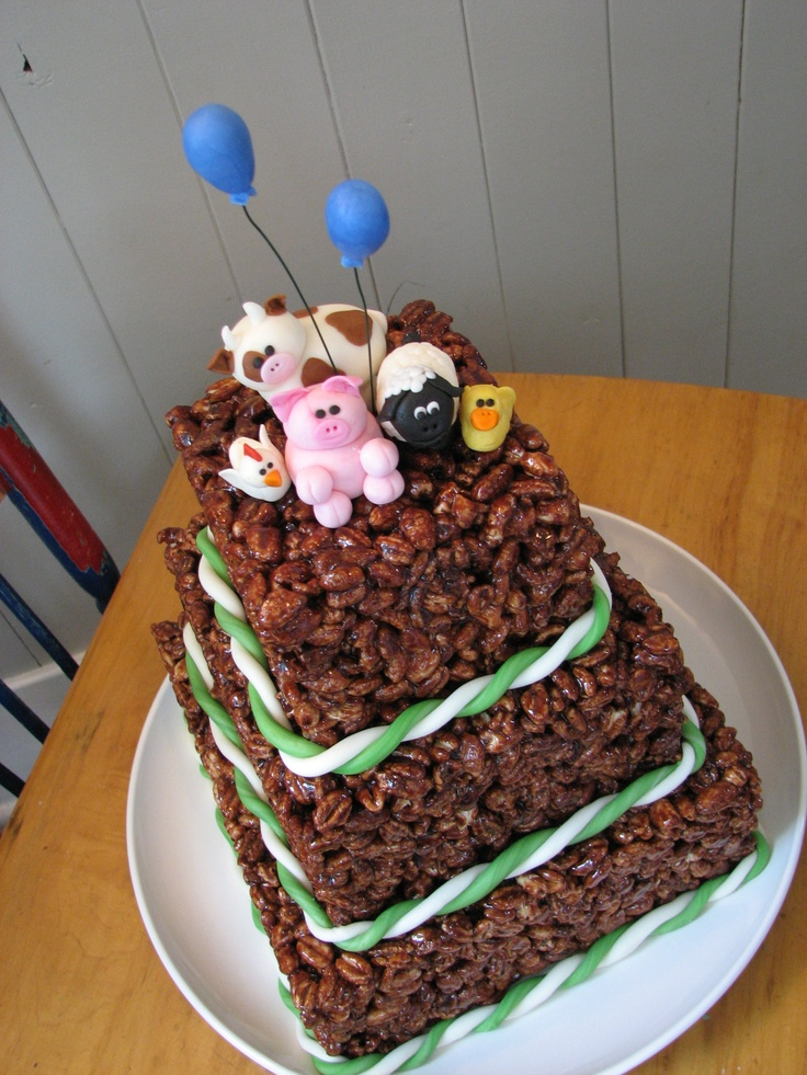 Puffed Wheat Cake for breakfast birthday party