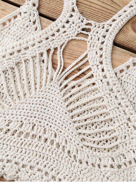 Knitting Crochet Bikini Top - BEIGE ONE SIZE Mobile