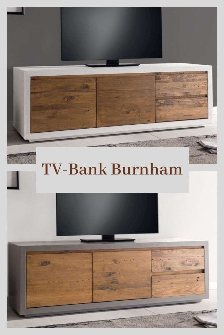Woodkings Tv Lowboard Burnham Einrichtung Idee Wohnzimmer Tvbank Rustikal Tvboard Holz Altholz Weiss Betonop Lowboard Tv Wand Freistehend Tv Lowboard