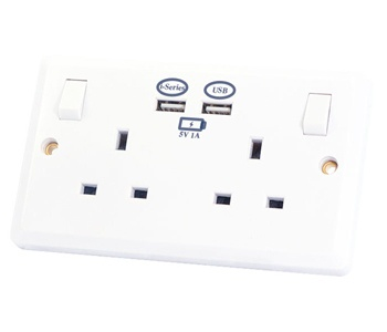 Selectric Double Socket with 2 USB Outlets 2 Gang 13A at UK Electrical Supplies