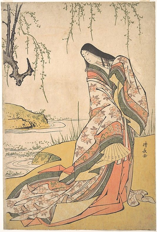 Kanjo: A Court Lady  Torii Kiyonaga  (Japanese, 1742–1815)  Period: Edo period (1615–1868) Date: ca. 1790 Culture: Japan Medium: Polychrome woodblock print; ink and color on paper