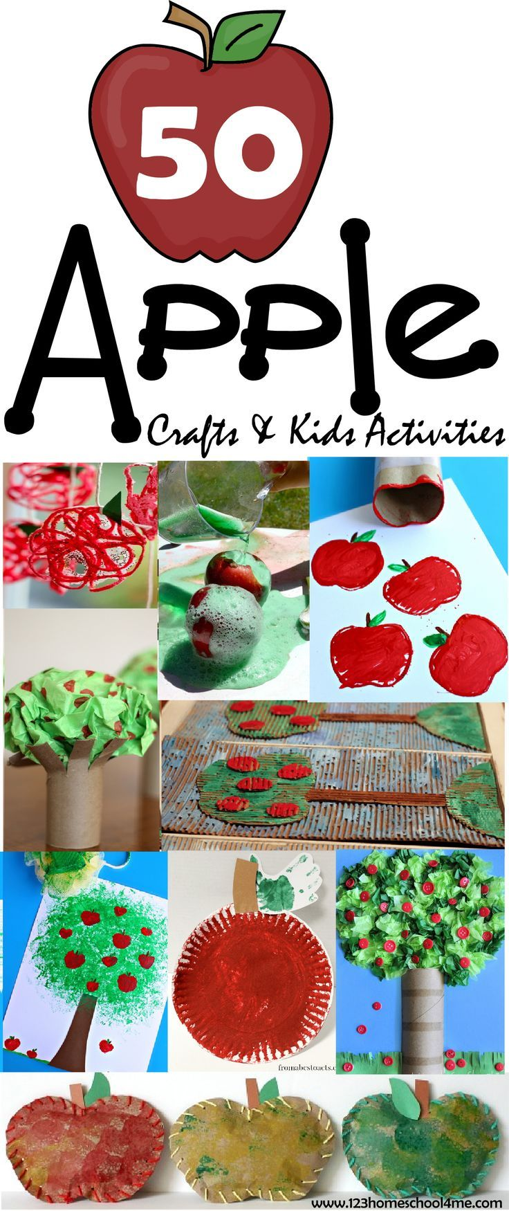 50 FUN Apple Crafts for Kids & Kids Activities - wow there are so many  really