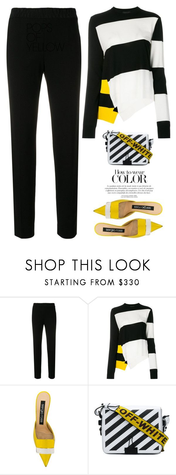"""""""Bits Of Yellow"""" by hollowpoint-smile ❤ liked on Polyvore featuring Dorothee Schumacher, Calvin Klein 205W39NYC, Sergio Rossi, Off-White and modern"""