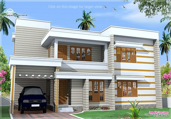 Flat roof house exterior in 1850 kerala home for Kerala home design flat roof elevation