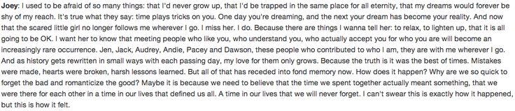 Joey Potter quote, Dawson's Creek