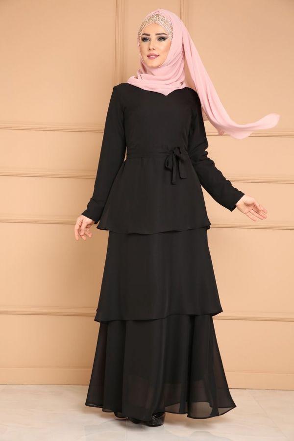 Kat Katli Sifon Abiye Prm3037 Siyah Moda Stilleri Elbiseler Kadin Kiyafetleri