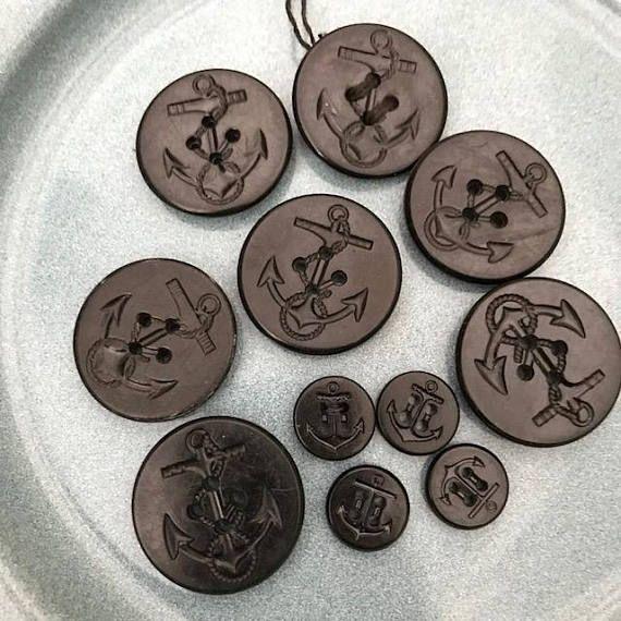 Set of Eleven Vintage Navy Uniform Sailor Buttons 7 Large and