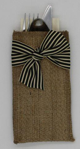 Black Striped Ribbon Silverware Holder