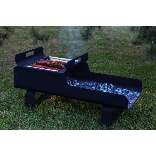 """""""Grab"""" Grill - Metal charcoal grill with room for wood storage."""