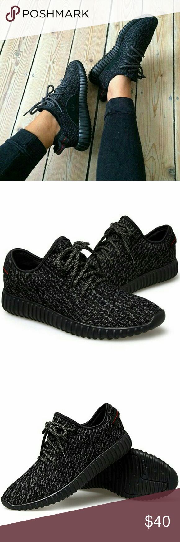 Adidas Version Black Running Shoes **UNISEX** ***LIMITED STOCK, STYLE WON'T BE RESTOCKED***  NEW Adidas Version from Kayne West Yeezy.  UNISEX sneakers with breathable fly woven fabric and rubber sole.  Note: **NOT REAL ADIDAS**  THIS IS men and women's unisex sneaker for Winter, Fall, Autumn or Summer.  Inspired by the latest ADIDAS trends, these shoes use a breathable Fly woven fabric and rubber sole.   Men   Women 6.5.  =  8.5    7   =    9 7.5   =  9.5    8   =   10 8.5.  = 10.5    9…