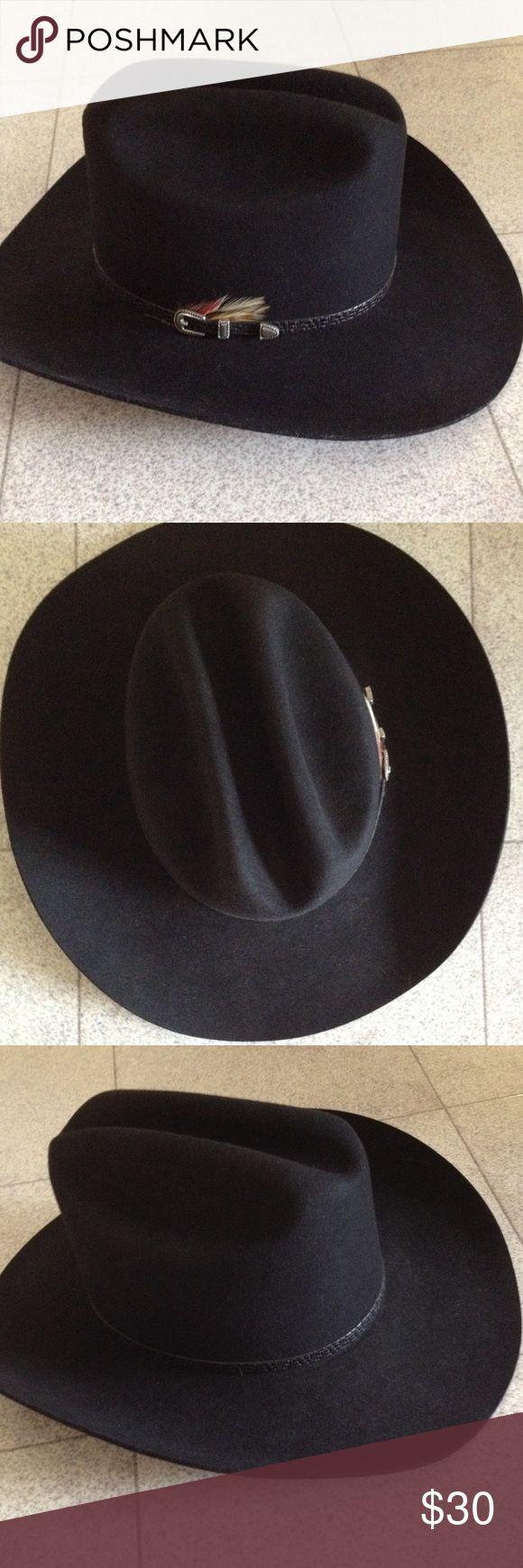 """Bronco Black Wool Western Cowboy Hat 100% Virgin Wool. 5"""" crown. Lined. Gently worn. Bronco Mister Felt Accessories Hats"""