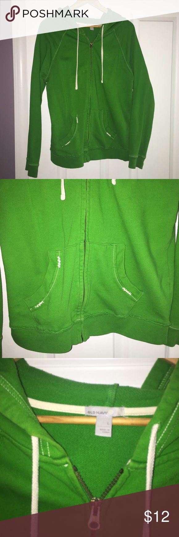 Bright green zip up! Bright green zip up hoodie! Very comfy! Great condition! Old Navy Tops Sweatshirts & Hoodies