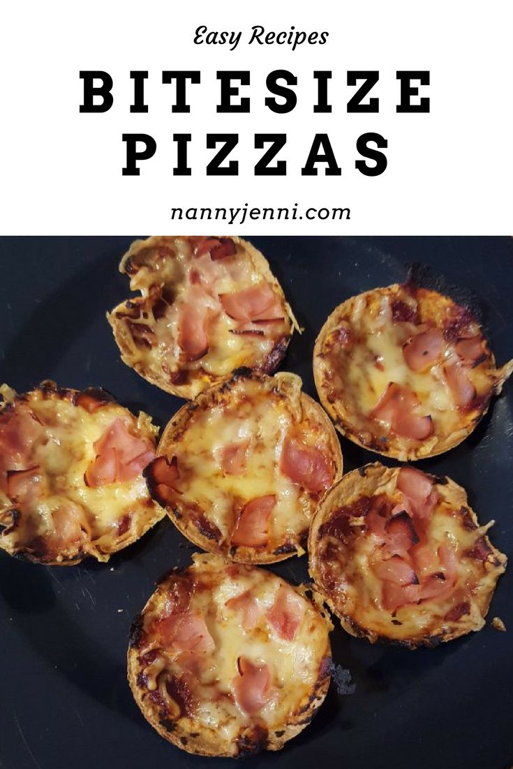 Look at these yummy bitesize pizzas! Recipe included. Perfect snacks for kids