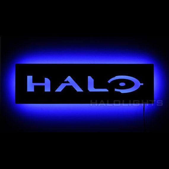 Illuminated Halo Logo Sign   LED Backlit Gamer Wall by HaloLights
