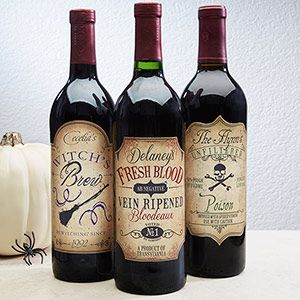 These Personalized Vintage Halloween Wine Bottle Labels are AMAZING! You can put them on any bottle of wine and give them as gifts or use as Halloween decorations!