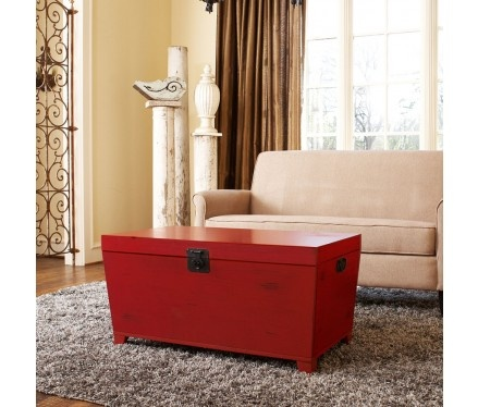 Wonderful Red Trunk And Coffee Table In One.