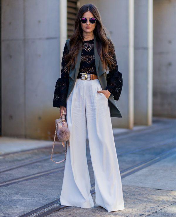 look pantalona branca e blusa rendada