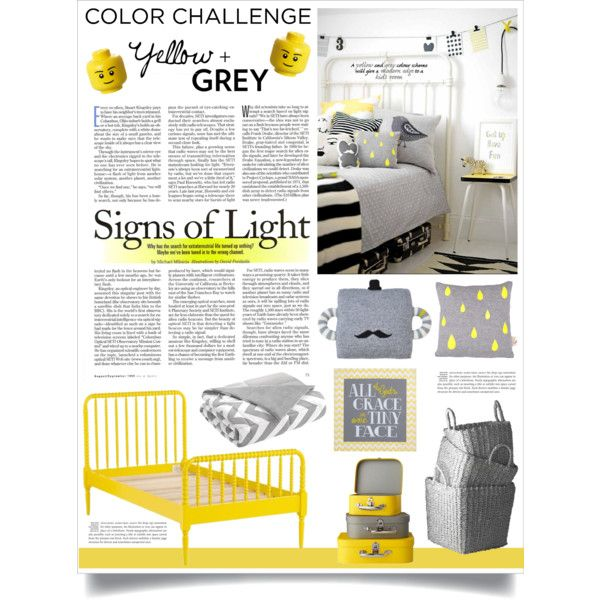 """Color Challenge: Yellow and Grey"" by veronikasinterior on Polyvore"