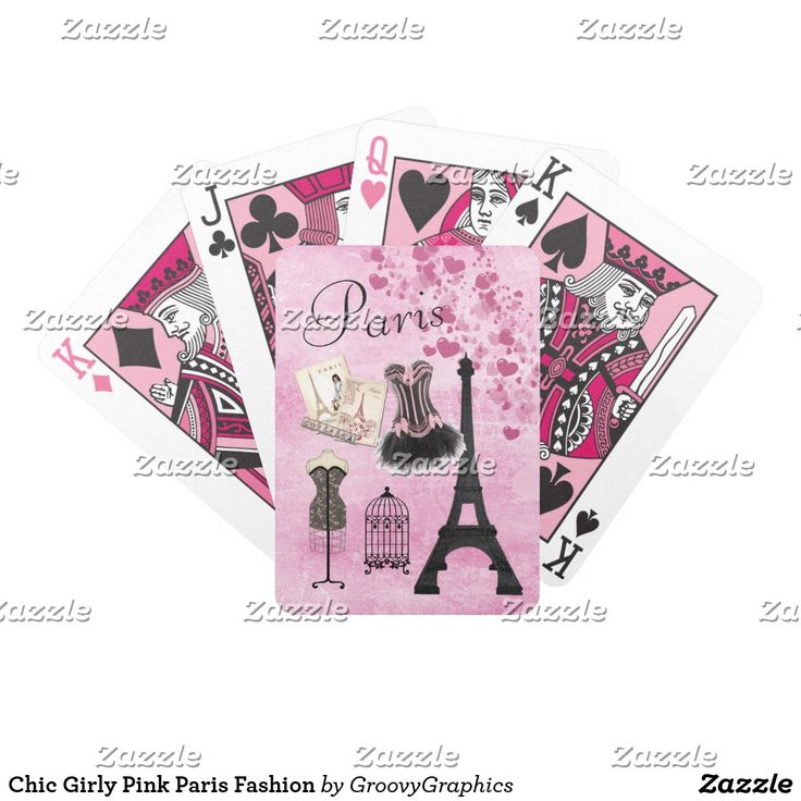 Chic Girly Pink Paris Fashion Bicycle Playing Cards