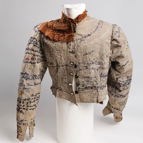 Agnes Richter's jacket.    In the Prinzhorn collection at Heidelberg psychiatric university hospital is a jacket that was made, and worn, by a seamstress, Agnes Richter, who in the late 18th century was an inmate in a German mental institution. Agnes had created a beautifully tailored jacket from ripped up hospital uniforms, and covered every inch of it with embroidered writing.