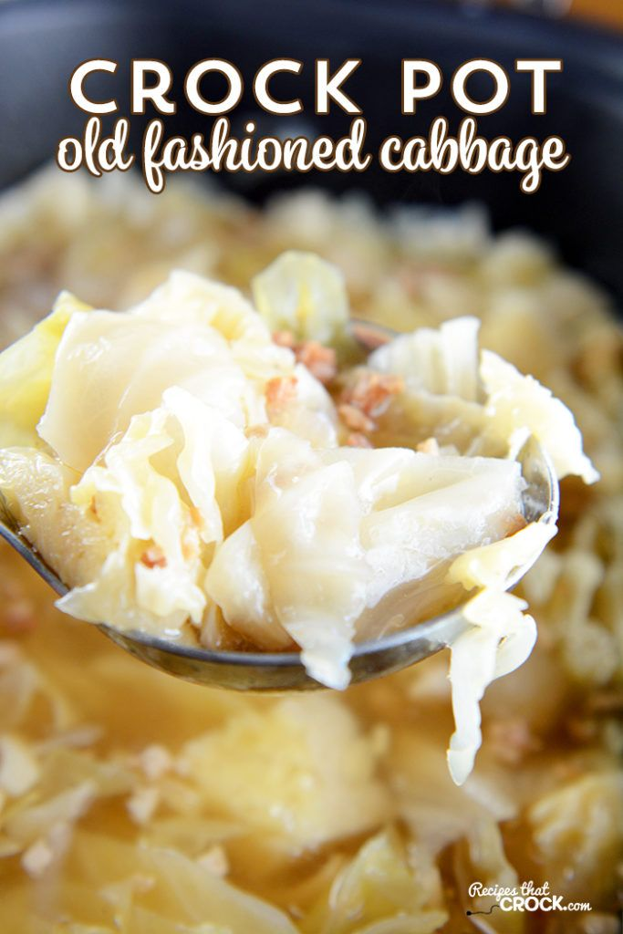 Crock Pot Cabbage Recipe: This super easy recipe tastes just like grandma used to make! Tender cabbage with the savory flavor of bacon and onions makes the perfect side dish for any family dinner/