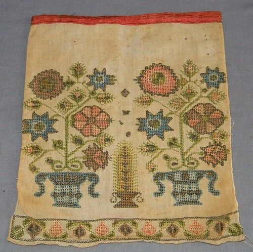 Circa 1790 Folk Art Needlework Sampler Sewing Pocket