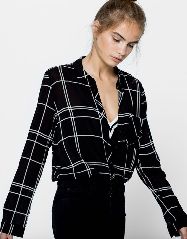 Check shirt - Blouses & shirts - Clothing - Woman - PULL&BEAR United Kingdom