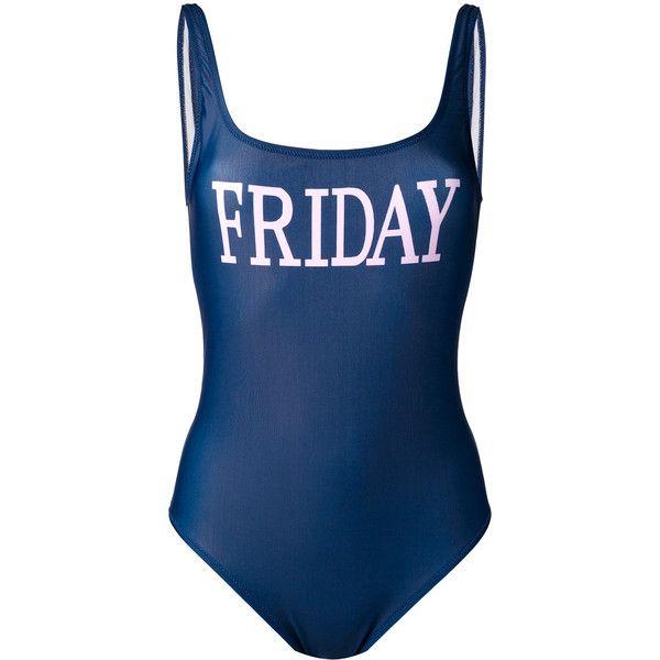 Alberta Ferretti Friday swimsuit found on Polyvore featuring swimwear, one-piece swimsuits, blue, blue one piece swimsuit, blue swim suit, blue swimwear, bathing suit swimwear and swim costume