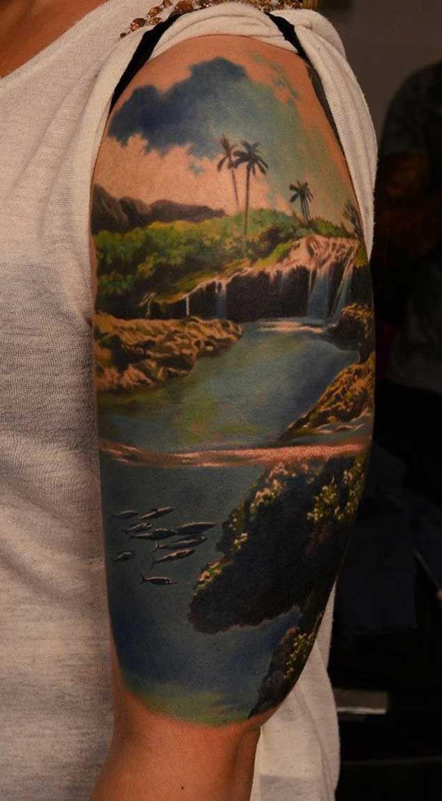 Tropical Landscape Tattoo
