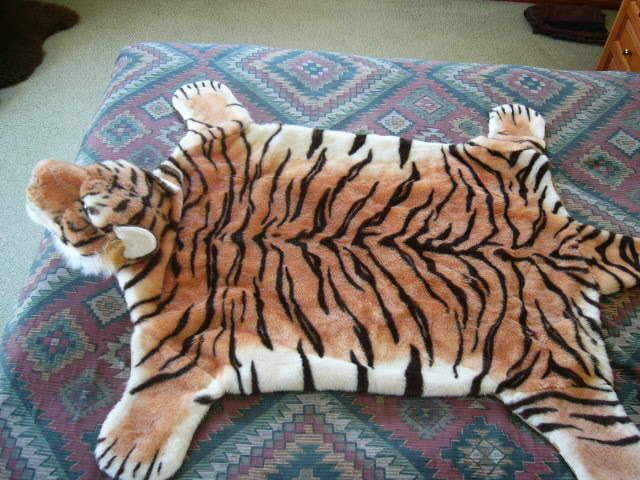 Fake Faux Tiger Skin Rug Taxidermy With Head Feet Tail Large Size For Kids Room
