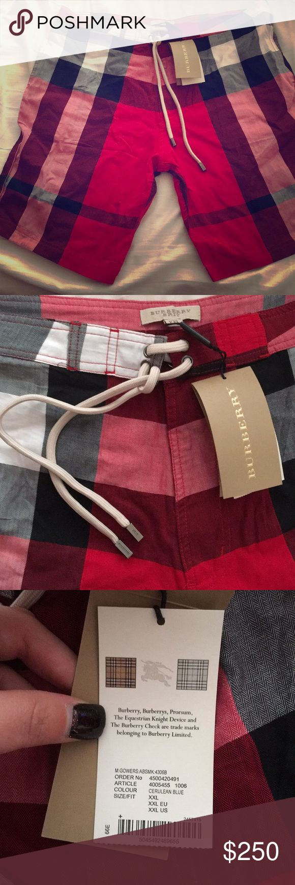 Burberry Brit men's shorts Red plaid check print. 100% authentic. This says size XXL but I believe it fits a size L best. Waist measurement 35-36 inches! Brand new with tags! Great Xmas gift💕 retails $295+tax Burberry Shorts