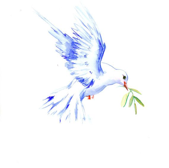 Dove and Olive Christian art painting white dove by ORIGINALONLY