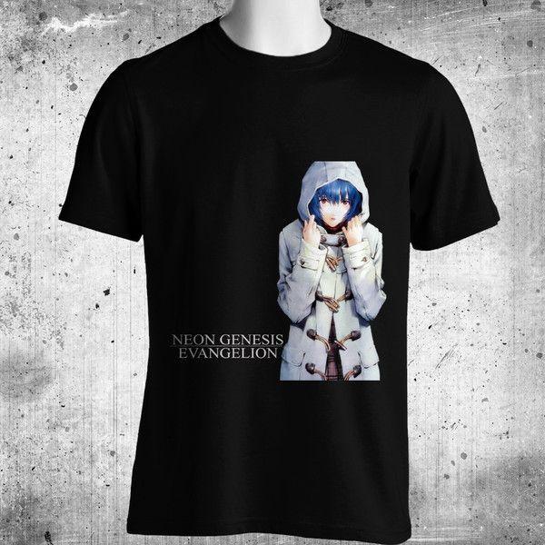 Neon Genesis Evangelion Anime Black T-Shirt FREE SHIPPING